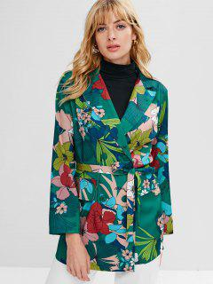 Flower Print Tunic Belted Blazer - Multi