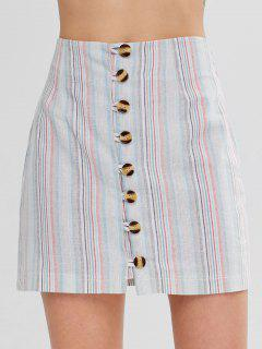 Button Up Stripes Mini Skirt - Multi-a M