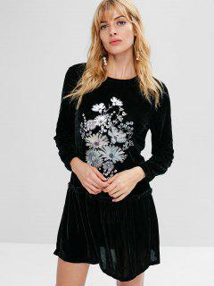 Flower Embroidered Drop Waist Velvet Dress - Black M