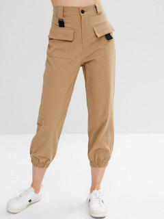 Flap Pockets Jogger Pants - Camel Brown M