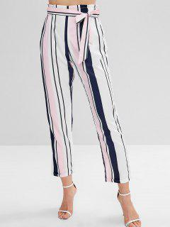 Belted Color Block Striped Pants - Multi S