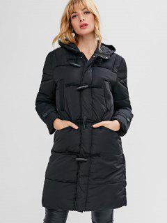 Horn Button Hooded Puffer Coat - Black Xl