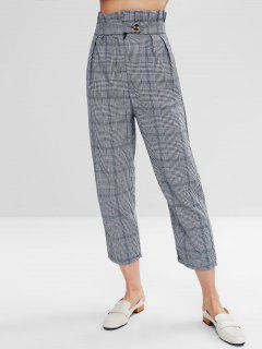 Seam Pockets Plaid Straight Pants - Black L