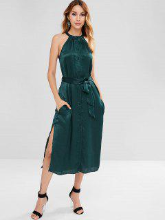 Halter Button Through Shimmer Midi Dress - Greenish Blue L