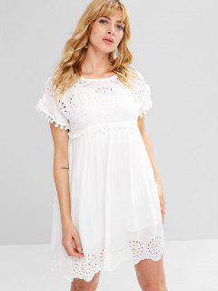 Scalloped Laser Cut Mini Dress - White M