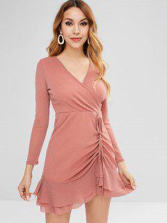 Ruched Flounced Mini Surplice Dress - Flamingo Pink M