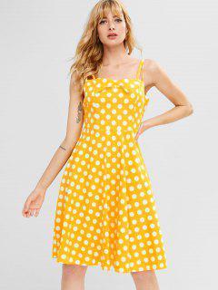 Cami Polka Dot A Line Dress - Bright Yellow S