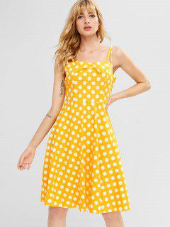 Cami Polka Dot A Line Dress - Bright Yellow M
