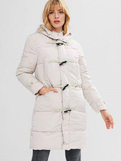 Horn Button Hooded Puffer Coat - Beige 2xl