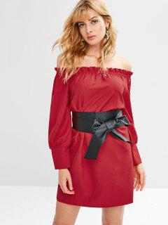 PU Belted Off Shoulder Dress - Lava Red L