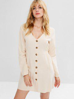 Long Sleeve Button Up Mini Dress - Champagne M