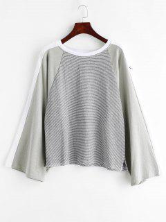 Raglan Sleeve Contrasting Striped Sweatshirt - Multi