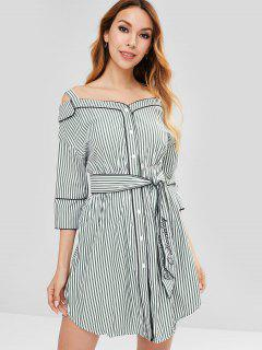 Cold Shoulder Belted Striped Dress - Jungle Green S