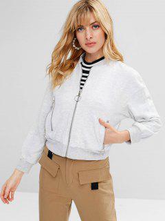 Zip Front Solid Color Jacket - Light Gray L