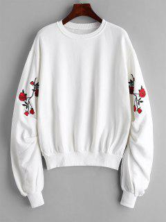 Ruched Flower Embroidered Sweatshirt - White