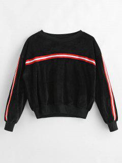 Velvet Striped Sweatshirt - Black M