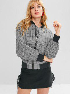 Patched Plaid Zip Up Jacket - Black