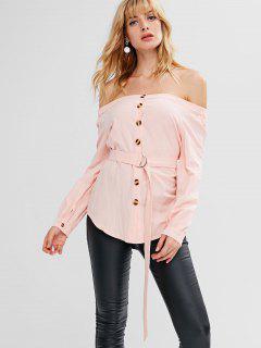 Off Shoulder Button Up Top - Light Pink L