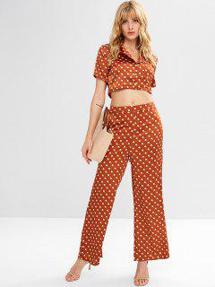 Wide Leg Palazzo Pants And Blouse Set - Chestnut Red L