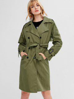 Double Breasted Belted Trench Coat - Army Green S