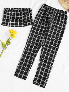 Plaid Bandeau Top And Pants Set - Black S