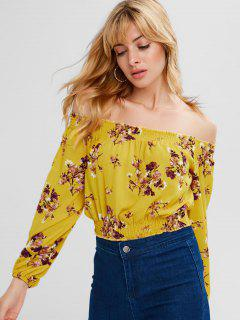 Off Shoulder Chiffon Floral Blouse - Bright Yellow L