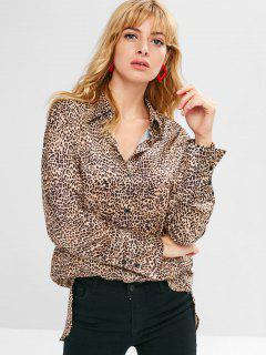 Leopard High Low Longline Shirt - Léopard S