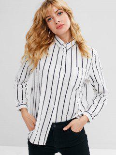 Chemise à Rayure Fine Avec Poche Boutonnée - Blanc L