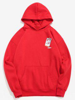 Funny Printed Hip Hop Style Hoodie - Lava Red M