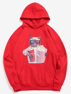 Funny Cat And Popcorn Printed Fleece Hoodie - Lava Red S
