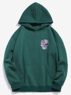 Amercian Flag Skull Printed Pullover Hoodie - Medium Sea Green 2xl