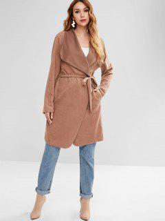 Fleece Knee Length Belted Coat - Light Brown M