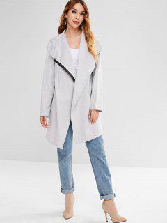 Zip Up Straight Oversized Coat - Light Gray M