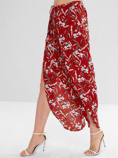 Floral Print Front Slit Drawstring Pants - Red L