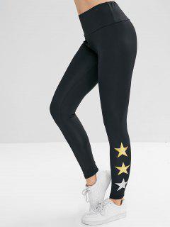 Elastic Waist Star Print Leggings - Black M