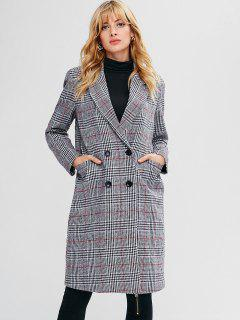 Plaid Pocket Longline Coat - Gray L