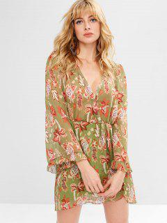 Flower Low Cut Tulip Dress - Avocado Green M