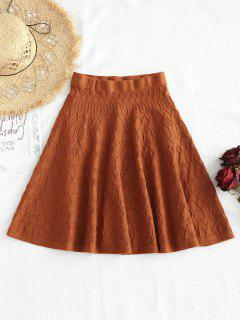 Solid Color Irregular Pattern Flare Skirt - Chocolate