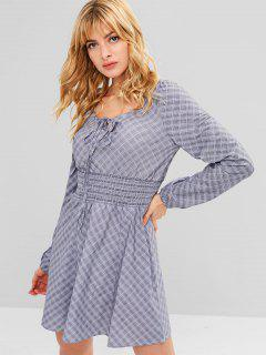 Plaid Smocked Keyhole Dress - Multi-a L