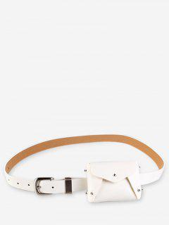 Mini Rivet Solid Color Waist Bag - White
