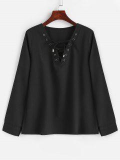Blusa Con Cordones De Manga Larga - Negro S