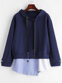 Stripes Insert Pullover Hoodie - Cadetblue S
