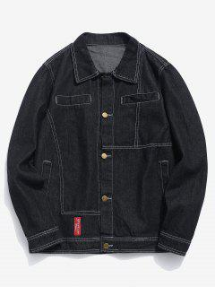 Casual Sewing Washed Denim Jacket - Black M