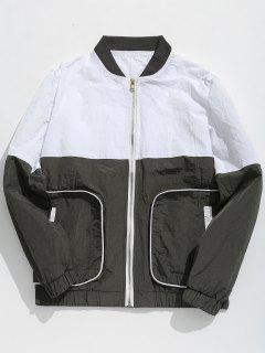 Color Block Pockets Bomber Jacket - Gray L