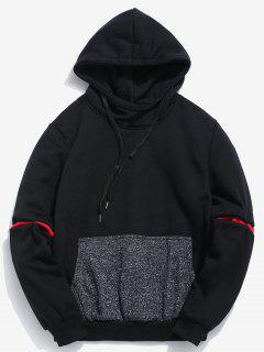 Contrast Patchwork Pocket Fleece Hoodie - Black L