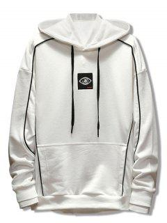 Patchwork Embroidery Applique Casual Pullover Hoodie - White L