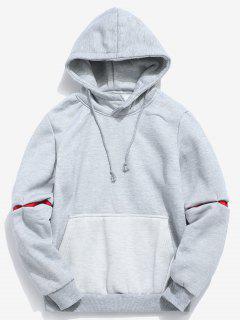 Contrast Patchwork Pocket Fleece Hoodie - Gray L