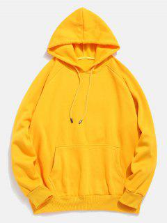 Basic Solid Pouch Pocket Fleece Hoodie - Yellow 2xl
