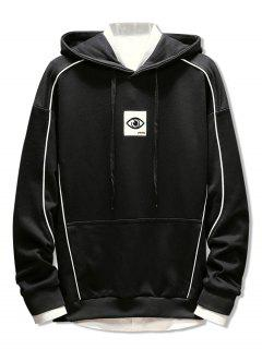 Patchwork Embroidery Applique Casual Pullover Hoodie - Black L