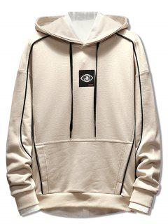 Patchwork Embroidery Applique Casual Pullover Hoodie - Beige M
